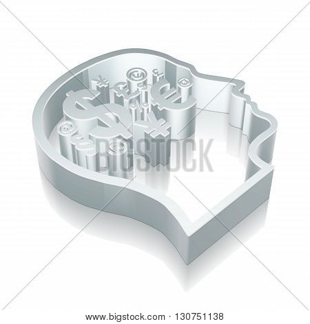 Business icon: 3d metallic Head With Finance Symbol with reflection on White background, EPS 10 vector illustration.