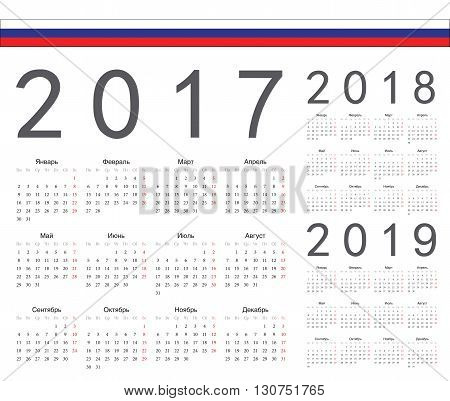 Set of russian 2017 2018 2019 year vector calendars. Week starts from Monday.