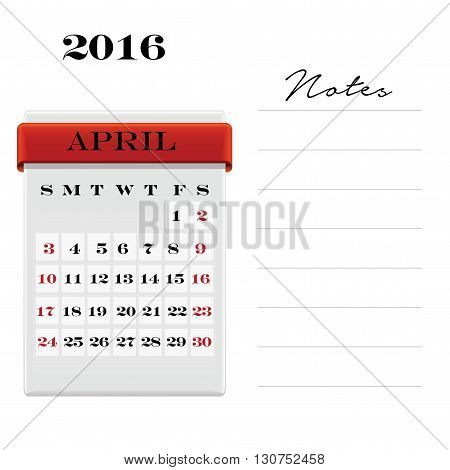 Vector calendar April 2016 with a place for notes. Weeks start on Sunday