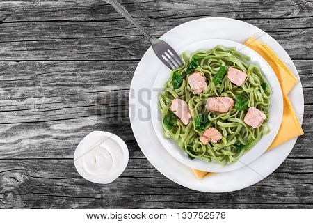 Salmon and Spinach Fettuccine pasta on white dishes and table napkin. cream sauce in a gravy boat on a white table italian style studio lights top view
