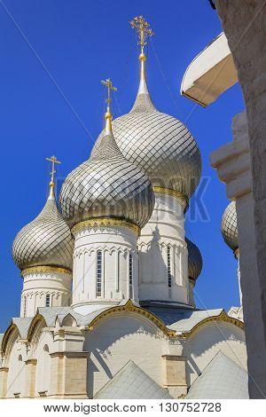 Rostov, Russia - June 3: It is domes and towers of the Cathedral of the Assumption in the Rostov Kremlin June 3, 2013 in Rostov, Russia.