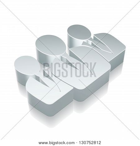 News icon: 3d metallic Business People with reflection on White background, EPS 10 vector illustration.