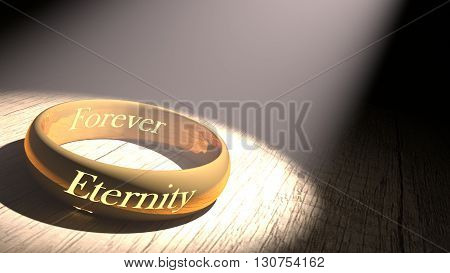 3D rendering golden ring with eternity engraved