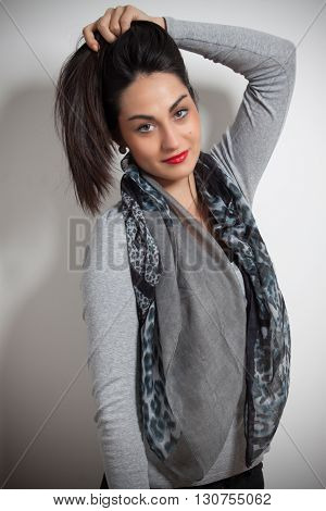 Fashion Photo Of Young Magnificent Woman. Girl Posing. Studio Photo