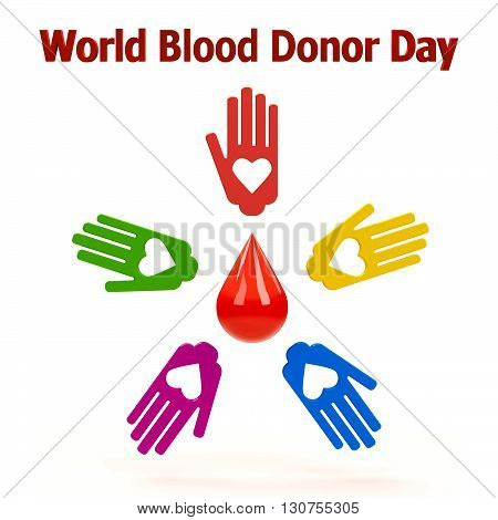Human hands with blood drop in the circle represent World Blood Donor Day three-dimensional rendering 3D illustration