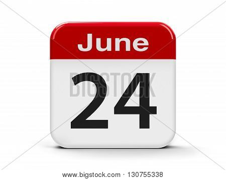 Calendar web button - The Twenty Fourth of June three-dimensional rendering 3D illustration
