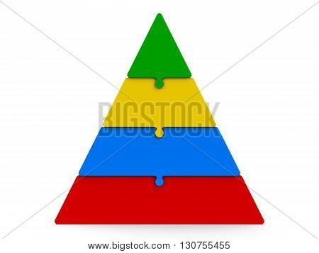 Four color puzzle pieces compose pyramid - represents four steps isolated on a white background three-dimensional rendering 3D illustration