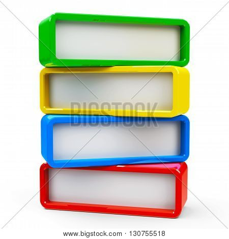Four color rectangle - represents four steps three-dimensional rendering 3D illustration