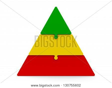 Three color puzzle pieces compose pyramid - represents three steps isolated on a white background three-dimensional rendering 3D illustration