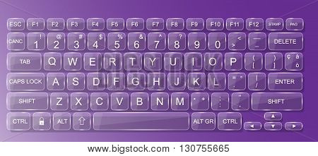 KEYBOARD PC GLASS WHIT SHADOW TRASPARENT PURPLE
