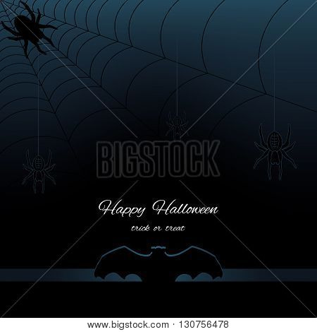 Happy Halloween dark background with silhouette bat, web and spiders