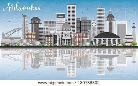 Milwaukee Skyline with Gray Buildings, Blue Sky and Reflections. Vector Illustration. Business Travel and Tourism Concept with Modern Buildings. Image for Presentation Banner Placard and Web Site.