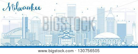 Outline Milwaukee Skyline with Blue Buildings. Vector Illustration. Business Travel and Tourism Concept with Modern Buildings. Image for Presentation Banner Placard and Web Site.