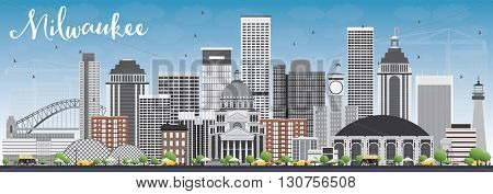 Milwaukee Skyline with Gray Buildings and Blue Sky. Vector Illustration. Business Travel and Tourism Concept with Modern Buildings. Image for Presentation Banner Placard and Web Site.