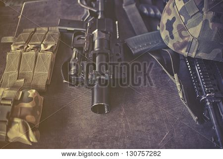 close up on military equipment on the table