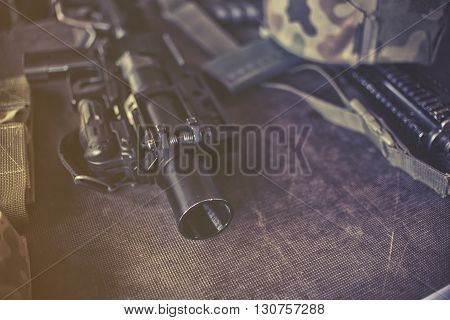 close up on military equipment close up on rifle
