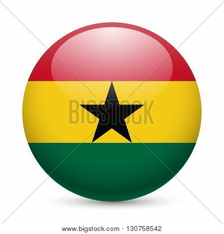 Flag of Ghana as round glossy icon. Button with Ghanaian flag