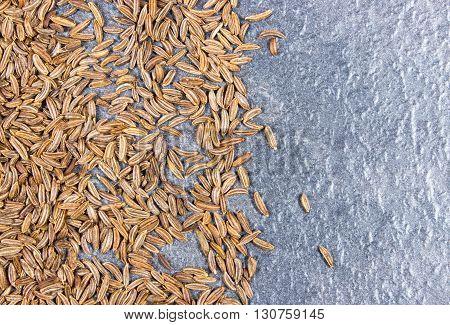 Close up of cumin seeds. Macro. Spice.