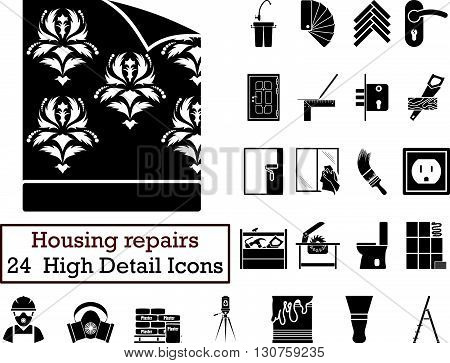 Set Of 24 Hoising Repairs Icons