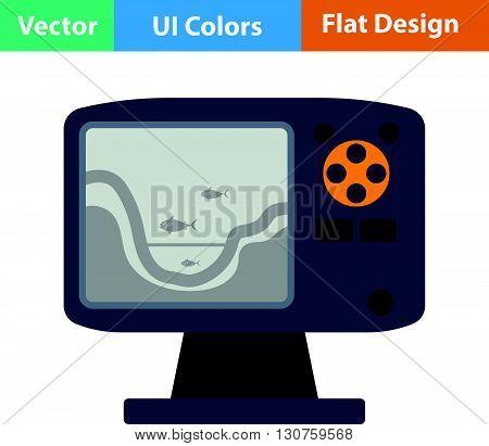 Flat Design Icon Of Echo Sounder