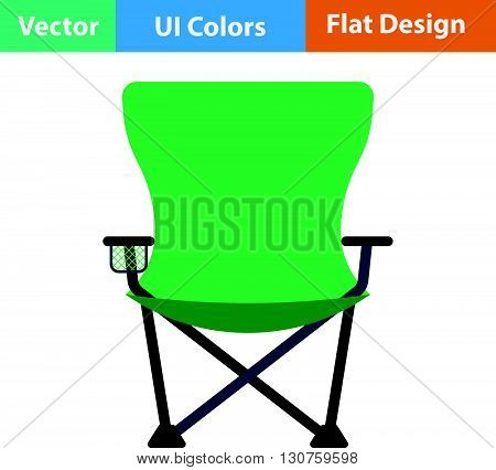 Flat Design Icon Of Fishing Folding Chair