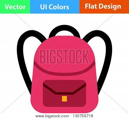 Flat Design Icon Of School Rucksack
