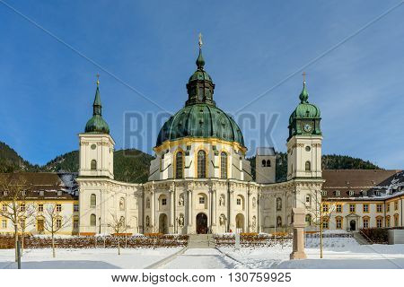 Ettal Abbey a Benedictine monastery in the village of Ettal in Bavaria Germany in winter.
