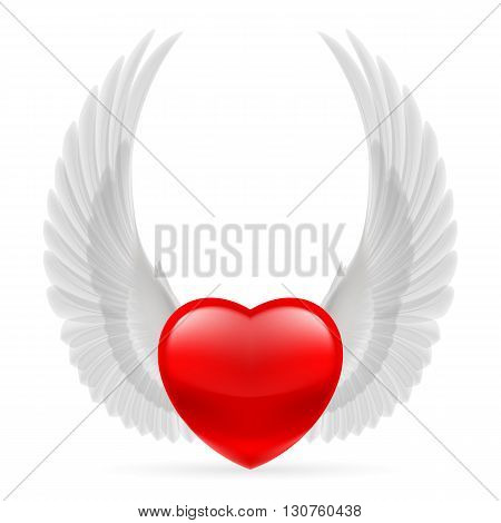 Red heart with white dove wings up.