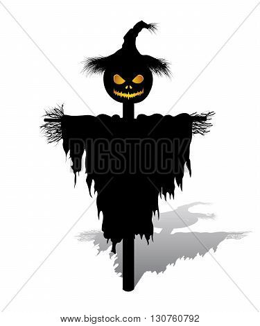 vector halloween scarecrow with pumpkin for head