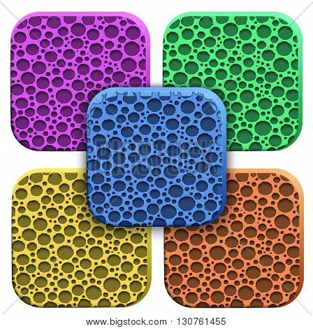 Icons of porous material. Technical illustration Demonstration of the structure of the material. Vector Illustration isolated on white background