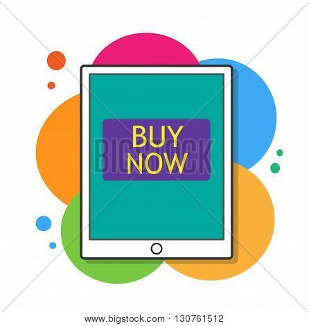 Buy Now, a hand drawn vector illustration of a tablet device with