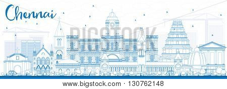 Outline Chennai Skyline with Blue Landmarks. Business Travel and Tourism Concept with Historic Buildings. Image for Presentation Banner Placard and Web Site.