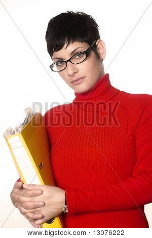 Young secretary holds a file full of documents.