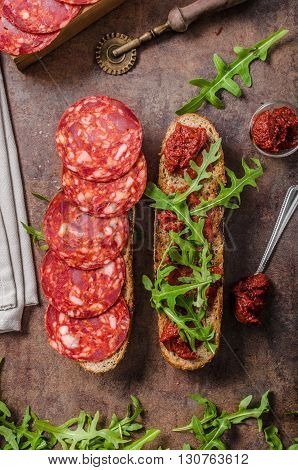Rustic Baguette With Herbs And Chorizo