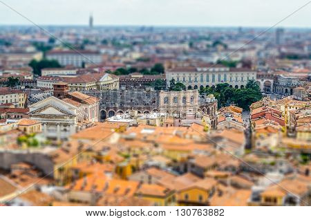 Panoramic View Over Verona, Italy. Tilt-shift Effect Applied
