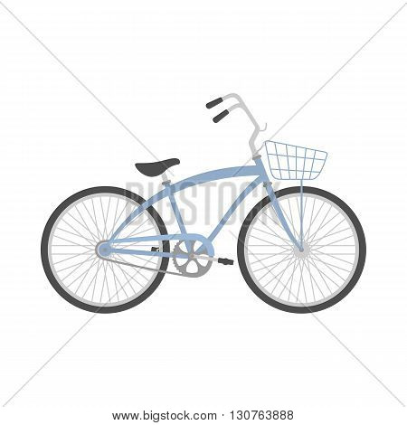 Bicycle in flat style. Retro bicycle isolated on white background. Vector illustration.