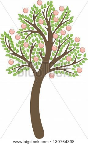 Tree with apples in the vector, isolated