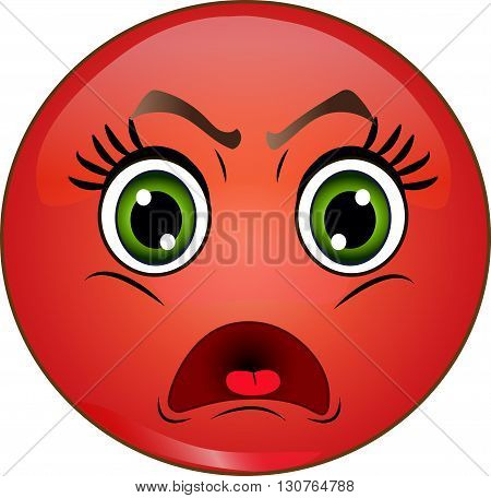 Angry red smiley emoticon on white background. Vector stock