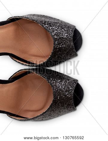 Black Glitter Sandals With Clipping Path