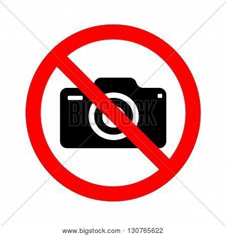 No camera sign on white background. Vector illustration