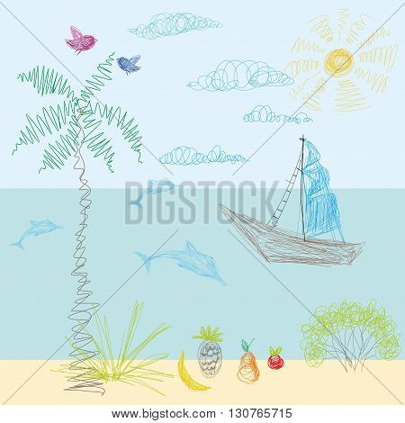 A child's drawing in vector. Sun sea beach sailing away vacation dolphins and summer