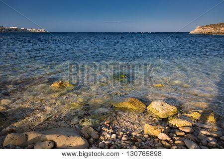 Rocky Beach In Marsaskalarocky Beach In Marsaskala Gulf, Malta.