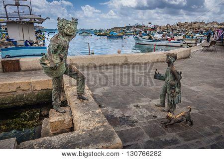 Marsaxlokk Malta - 02 May 2016: Fishing port of Marsaxlokk Malta island Mediterranean sea