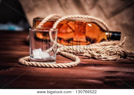Whiskey Stylish Photos, Brandy And Bourbon On The Wooden Background