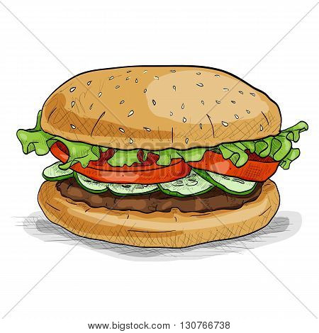 Hamburger hand drawn vector llustration realistic sketch. Burger, color picture sticker