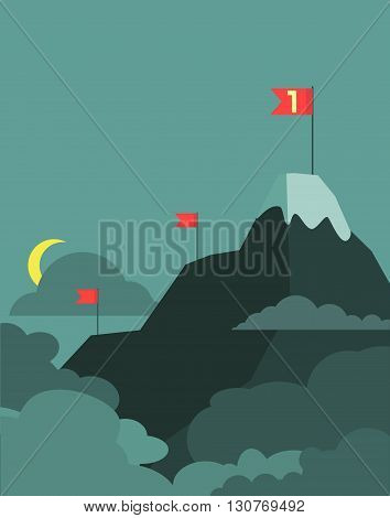 Vector leadership concept with mountain landscape of retro design. Business concept cartoon illustration. Vector