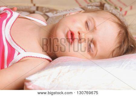 Beautiful baby girl is sleeping (close up)