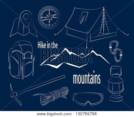 Mountain climbing camping decorative icon set with map rope compass campfire isolated vector illustration. Hike in the mountains