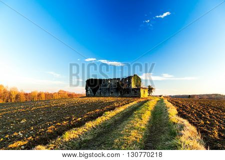 Abandoned Farm In The Countryside