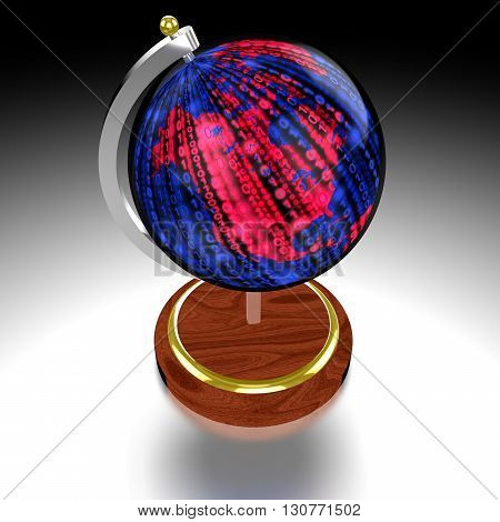 3D illustration globe on blue textured with a glowing red datastream map